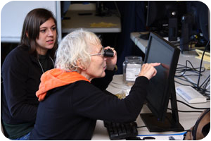 SSP Jenna Curtis (left) explores the Adaptive Technology Display with Retreat participant Hildegard Oker-Bogle (right)